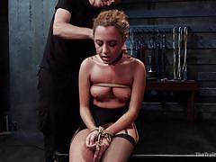 anal, bdsm, hairy, blindfolded, gagged, redhead babe, rope bondage, slave training, the training of o, kink, roxanne rae, mr. pete