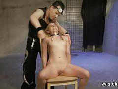 Bound babe gets her pussy teased