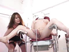 Naughty nurse jerks her patients cock