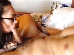 Sexy redhead gets cum on face