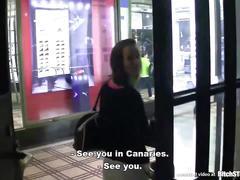 Bitch stop - pretty brunette fucking in public toilet