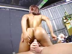 Aliyah sashu git fucked by two white guys in a tool shop