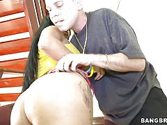 Blowjob on stairs from brazilian milf
