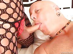 Blonde shemale in fishnet @ she male pov #02