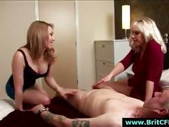 Handjob from cfnm british girls for naked dude