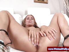 Juicy cherry babe pissing on the sofa