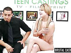 small tits, casting, brutal, rough sex, blonde babe, tied hands, ball gag, mouth fucked, brutal castings, fetish network, abby paradise