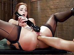 Horny hot lesbians playing with vibrator