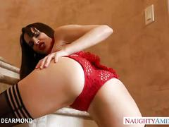 Brunette in red lingerie dana dearmond gets ass fucked