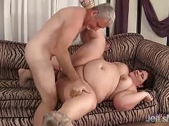 Horny bbw swallows this hard cock