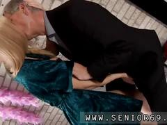 Little blonde nymph licks hairy old balls and a cock