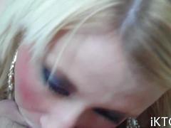 Blonde flashes her pierced nipples before sucking fat dick deepthroat