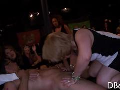 Big tits brunette share a black cock in the club