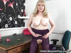 British granny with big tits is a compulsive masturbator