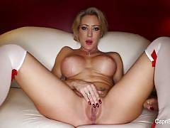 Elegant babe capri cavanni plays with her moist pussy