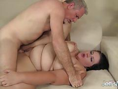 Randy plumper gobbles down this hard cock