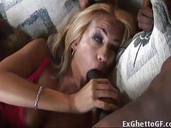 Sensual babe fucks this huge blacked cock