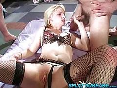 Blonds first gangbang party fucking