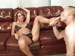 Tranny with massive dick makes him suck her toes @ all time biggest transsexual cocks #09