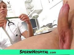 Older uniform milf doctor beate loves stroking young penis