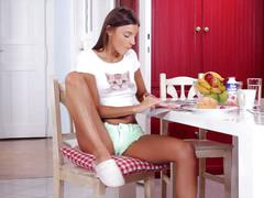 Sexy cute teen melena maria charm us with her masturbation in the kitchen