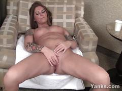 erotic, yanks.com, brunette, solo, masturbation, shaved pussy, clit rubbing, hd, huge tits, busty, orgasm, climax, tattoos