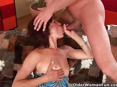 mature, red head, brunette, milf, gilf, cougar, hd, big boobs, reverse cowgirl, dick sucking, cumshot, facial, spooning