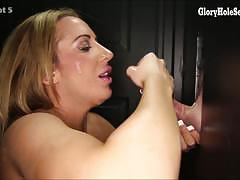 Elegant babes sucking cock at gloryhole