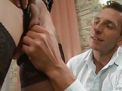 Blonde babe in lingerie teasing her man