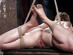 bdsm, hanging, punishment, hogtied, vibrator, tied up, blonde babe, ball gag, rope bondage, hogtied, kink, ella nova, the pope