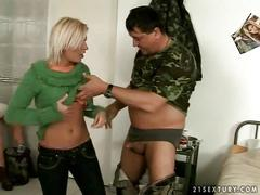 Old man in uniform fucks young blonde
