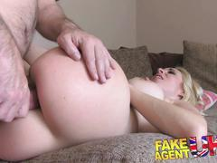 Fakeagentuk double dipping into hot blondes pussy and ass in casting