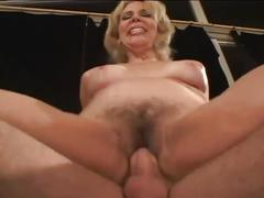 Blonde cougar fucking younger guy