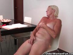 erotic, olderwomanfun.com, milf, blonde, solo, masturbation, strip tease, big boobs, clit rubbing, shaved cunt, orgasm