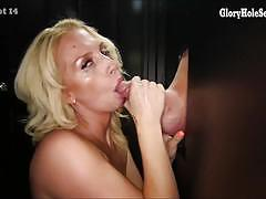 Raunchy babes sucking cock at glory hole