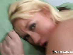 Wild amateur blonde pumping on the guy's cock