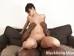 brunette, blowjob, hardcore, black, interracial, toys, dildo, hairy, deepthroat, big cock, fucking, bbc