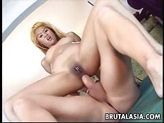 Blonde babe sucks a huge cock