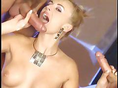 anal, trimmed pussy, cock sucking, double penetration, brunette, natural tits, cum on face, missionary