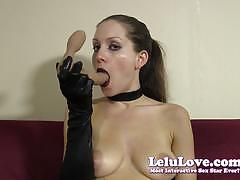 Brunette lelu love swallows her huge dildo