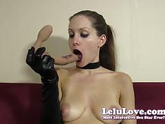 lelu love, blowjob, dildo, solo, amateur, fetish, homemade, gloves, choker, makeup, gothic, goth, lipstick