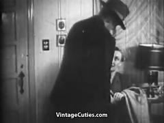 Cool bang and oral sex before bedtime (1930s vintage)