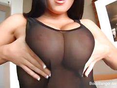 Teen with huge tits gets tit fucked