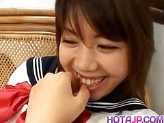 Cute asian in uniform sucking dick