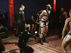 game show, leather, bound, mask, public disgrace, outdoors, suspended, gay, gay domination, gay group sex, bound in public, kink men, cass bolton, christian wilde, jessie colter