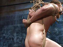 whipping, gay bdsm, suspended, gay domination, clothespins, mouth gag, rope bondage, bound gods, kink men, chris burke, christian wilde