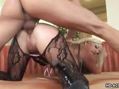 Busty blonde with a huge ass gets ass fucked
