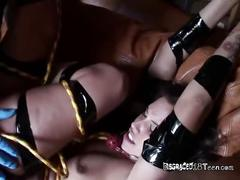 Sucking on her wet pussy during her bdsm session