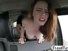 Amateur redhead passenger fucked by fake driver for free