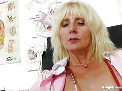 Lustful nurse showing her appetizing cunt